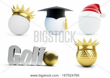 golf ball set 3d. on white background. 3d Illustrations