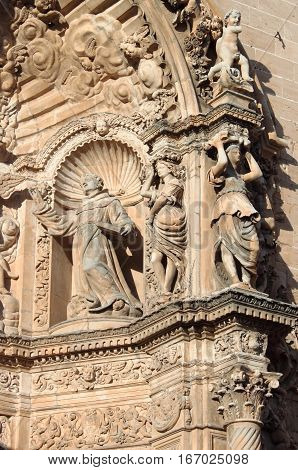 Basreliefs in St. Francis of Assisi in Palma de Mallorca, Spain