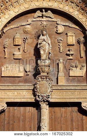 Basreliefs in the Portal of Palma de Mallorca cathedral, Spain