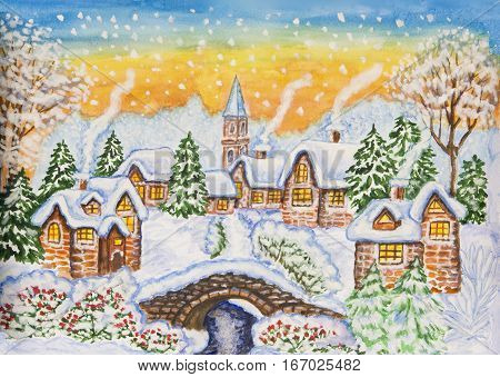 Painting illustration watercolor and white gouache winter landscape with houses. Can be also used as Christmas and New Year illustration.