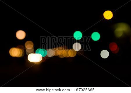 Abstract photo of a moody, bokeh filled cityscape