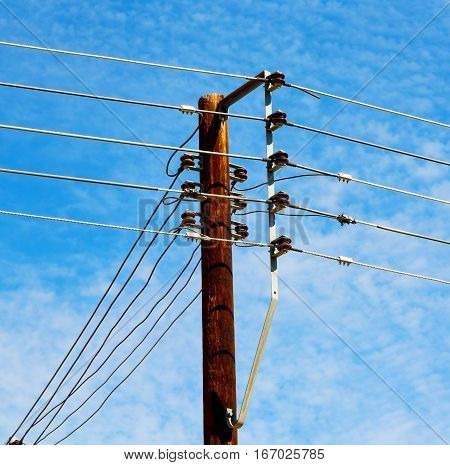 In Oman The Electric Cable Wood Pylon Energy And Current Line