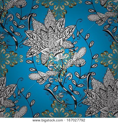 Raster texture with golden floral doodles flowers on blue background with shadows. Raster.