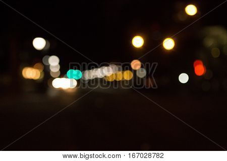 Moody bokeh filled city lights and city scape