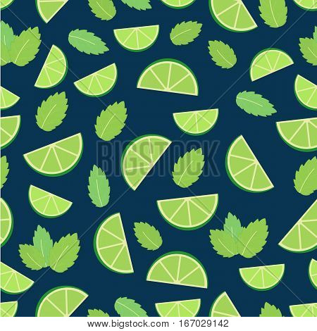 Mojito cocktail - seamless pattern of lime and mint leaves.