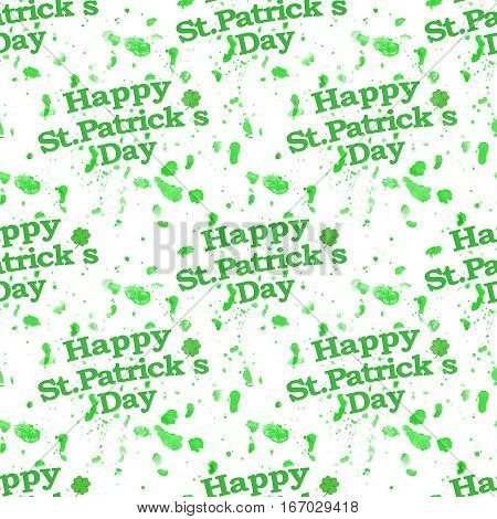 St patrick day motif seamless pattern design with splatter abstract spots shapes and letters in green and white colors