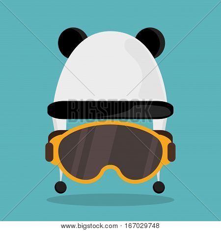 cute hat earflap with glasses winter vector illustration eps 10