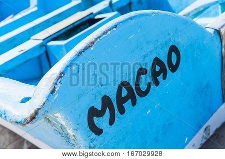 Macao Beach, Stern Of Blue Boat