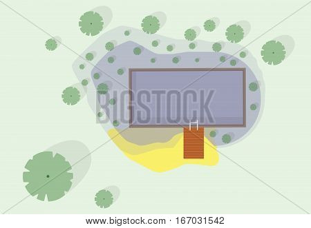 Garden project at bathing pond. Oasis of calm in garden of house. Swim pond with plants and rectangular swimming area. Natural garden swimming pond. Architectural vector illustration of water surface.