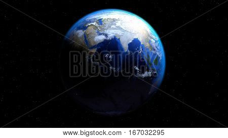 Earth globe from space with clouds showing India and Middle East, 3d illustration