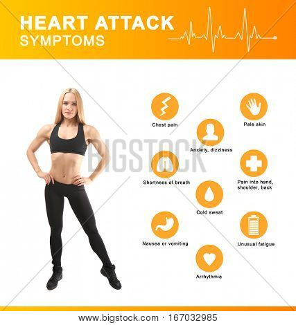 Health care concept. List of HEART ATTACK SYMPTOMS and sportive woman on white background