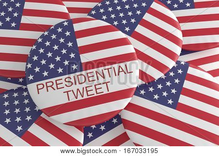 USA Media News Concept Badge: Pile With Presidential Tweet Button With US Flag 3d illustration