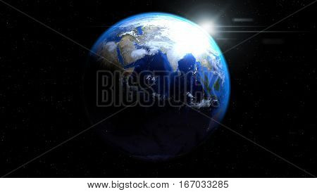 Earth globe from space with sun and clouds showing India and Middle East, 3d illustration