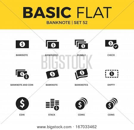 Basic set of banknote and coin form icon, coins form, bundle banknotes form icon. Modern flat pictogram collection. Vector material design concept, web symbols and logo concept.