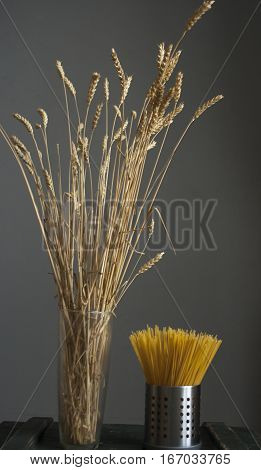 The theme of food on a gray background. Raw materials and finished product- ear of wheat and pasta
