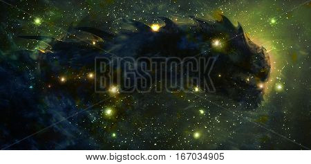 Cosmic dragon in space and stars, green cosmic abstract background