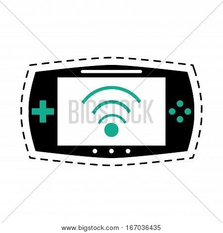 game console portable play device dot line vector illustration eps 10