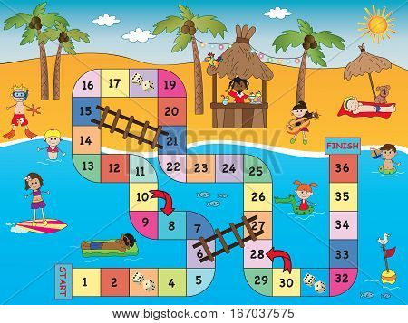 game for children: board game beach and sea