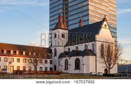 Cologne, Germany - January 20, 2017: Church of Old St. Heribert on the banks of the Rhine. St. Heribert was archbishop of Cologne.