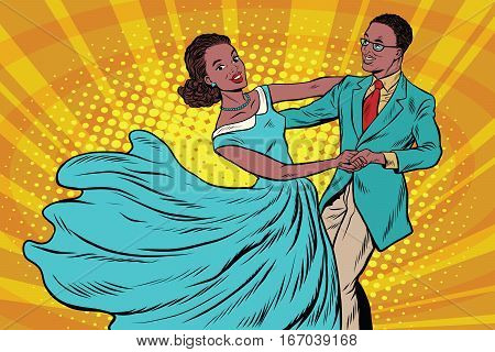 Prom, couple girl and boy dance. Pop art retro vector illustration. Waltz and music. African American people