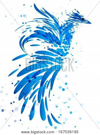 Mythical blue bird on white background, art symbol