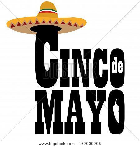 Isolated text with a mexican hat, Cinco de mayo vector illustration