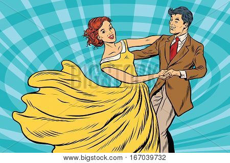 Prom, couple girl and boy dance. Pop art retro vector illustration. Waltz and music