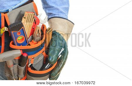 Worker Wearing Tool Belt And Gloves
