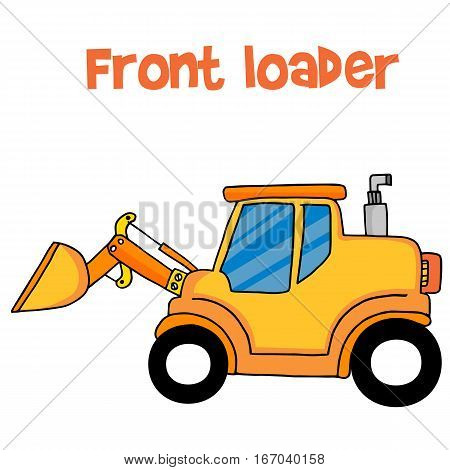 Yellow front loader of vector art collection stock