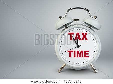 Alarm clock with copy space tax time concept