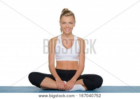 beautiful woman engaged in fitness isolated on white