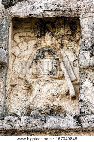 Ancient Mayan Carving On The Wall Of The Temple Of The Frescoes
