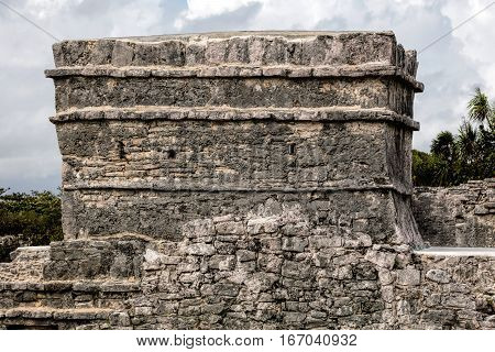 Ancient Mayan Temple Of The Frescoes In Tulum