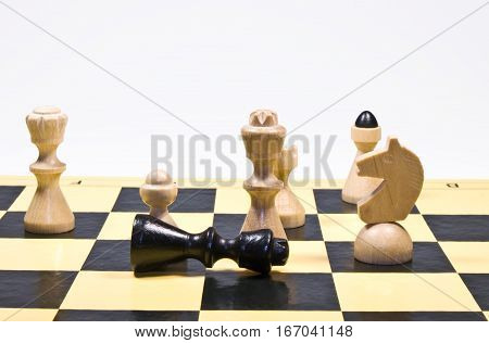 White king win a chess game, black is defeated