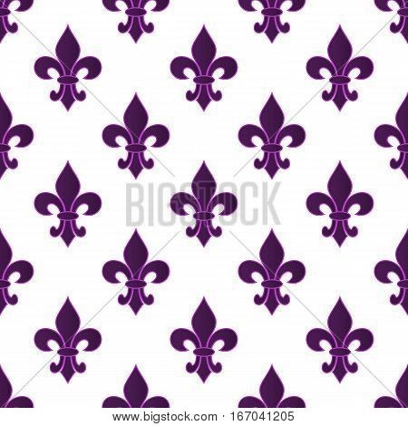 Mardi Gras Carnival seamless pattern with purple fleur-de-lis. Mardi Gras endless background texture wrapper. Vector illustration EPS10.