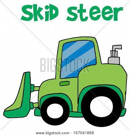 Green skid steer cartoon vector art illustration