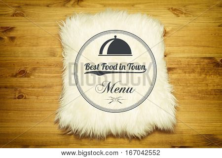 Menu. Decorative fur carpet on wood floor background