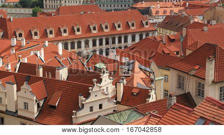 Southward view of classical style architecture with red clay roof tiles. Photographed from Paradise Garden (Rajská zahrada), Prague, Czech Republic.