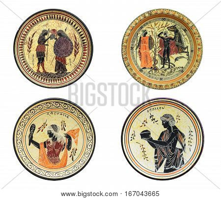 Set of four ancient Greek dishes isolated on white background. On a plate image of Athena Aphrodite Achilles and Tethys. Mythical heroes and gods.