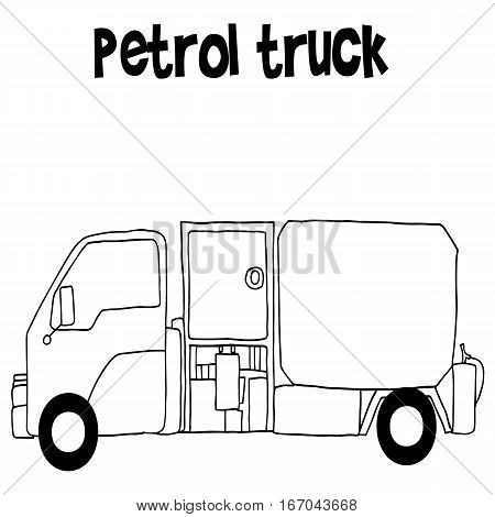 Petrol truck with hand draw vector illustration