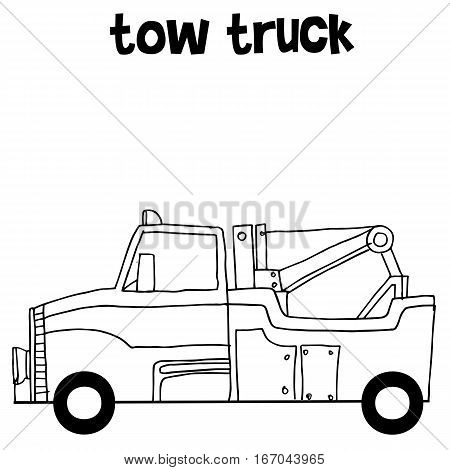 Tow truck collection vector art illustration with hand draw
