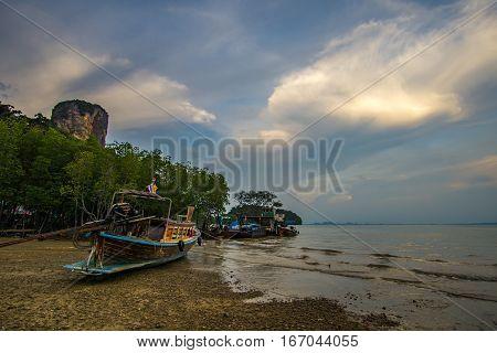 Thai Long Tail Boats On A Beach