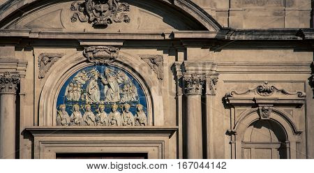 Religious fresco on a Church in  Florence
