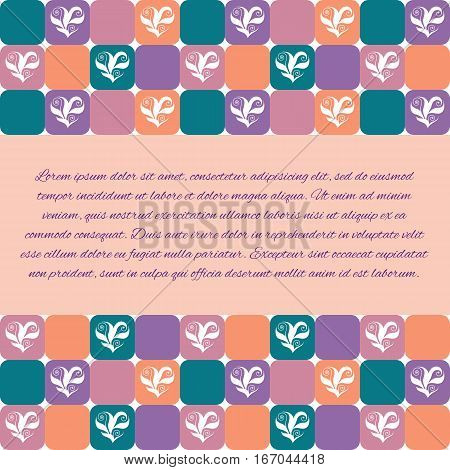 Flyer invitation or greeting card design template with floral hearts over green orange violet and pink tiles. Valentine's Day or wedding background. Pattern already in swatches.