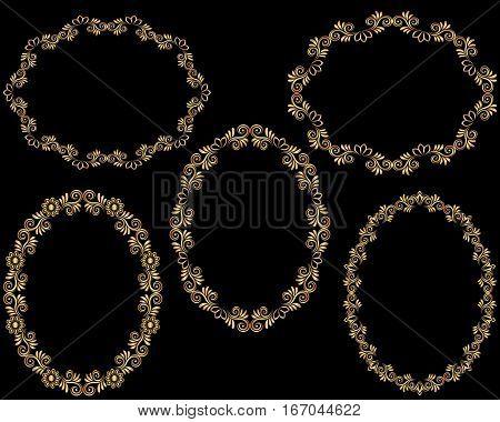 set of golden frames - clip art illustration
