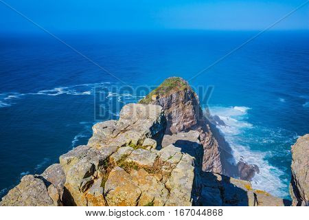 Cape of Good Hope. Cape on the Cape Peninsula south of Cape Town, South Africa in the Atlantic Ocean. The most extreme south-western point of Africa