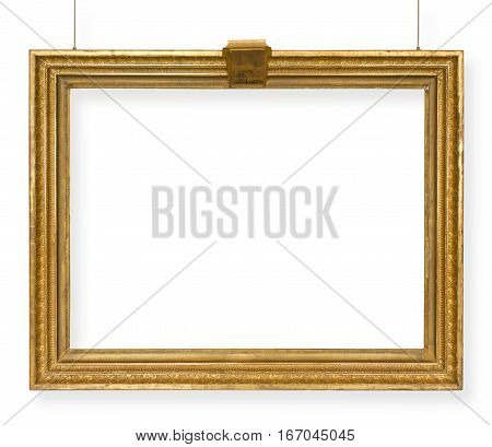 golden frame for a picture isolated on white background