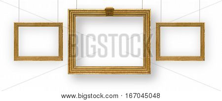 Set gilded picture frames isolated on white background