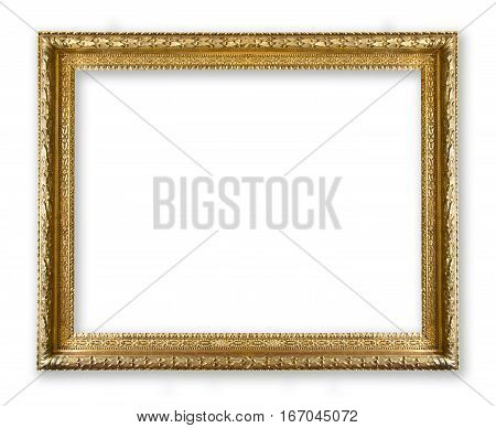 antique frame gold isolated on white background