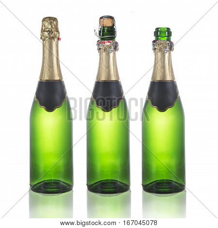 Set of champagne bottles . Isolated on white background